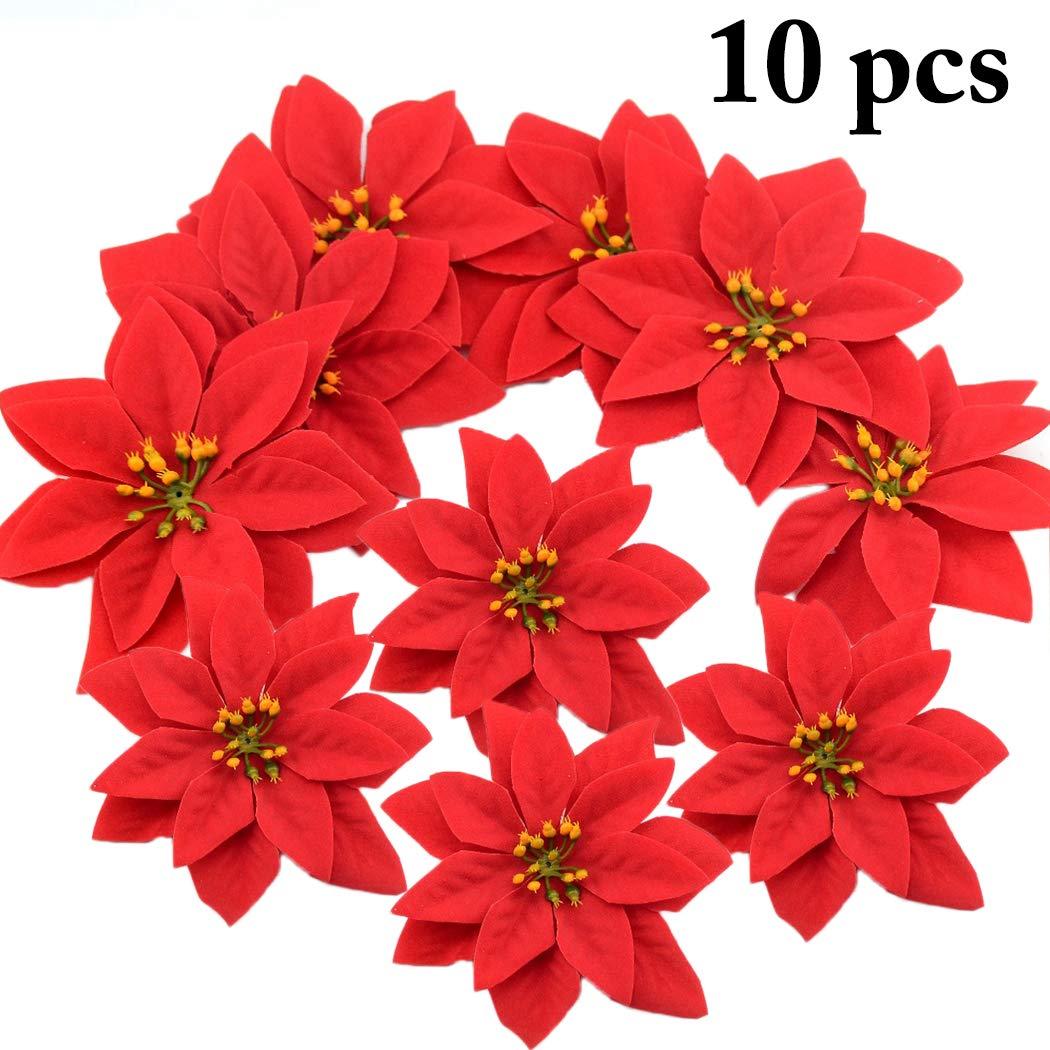 Justdolife Flores De Pascua De Navidad Flores Decorativas De Terciopelo Rojo Decorativo
