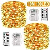 Lichterkette Batterie, 2er 10M 100 LED Lichterkette 8 Modi Außenbeleuchtung Batteriebetrieben Kupferdraht Wasserdichte IP68 mit Fernbedienung...