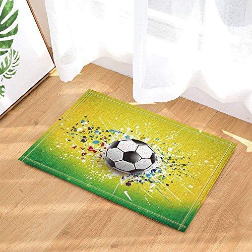 fdswdfg221 Kreativer Fußball mit Spread Painting in Brasilien Badteppiche für Badezimmer Rutschfeste Fußbodeneingänge Outdoor Indoor Haustürmatte Kinder Badmatte grün gelb