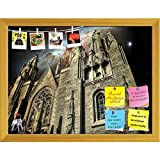 ArtzFolio Temple of Sacred Heart (Barcelona) & Cigar Galaxy Printed Bulletin Board Notice Pin Board cum Golden Framed Painting 15.6 x 12inch
