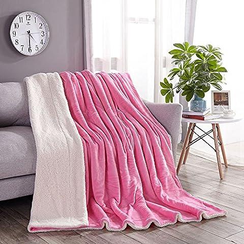Plaid sherpa réversible en fausse fourrure doux Couvre-lit Fuzzy Couverture chaude A/B côtés utiliser sur un canapé ou un lit enfant pour lit simple, Microfibre, blanc, Double, 78
