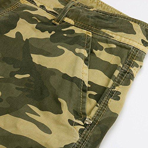 Shorts Herren Reißverschlusstaschen Pure Farbe Draußen Strand Beiläufig Arbeit Cargo Hose Khaki Crop Hose