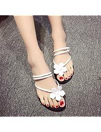 Flores dulce pie llano Flip Flops sandalias de cuero sandalias zapatos slip blanco,36