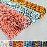 casa pura Chenille Badematte Coral | Zarte Schimmernde Farben | ÖKO TEX Standard 100 | Badezimmer-Teppich mit Massage-Effekt | Waschbarer Badvorleger (70x120 cm, weiß)