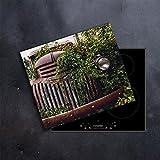 DAMU | Ceranfeldabdeckung 1 Teilig 60x52 cm Herdabdeckplatten Vintage Auto Elektroherd Induktion Herdschutz Spritzschutz Glasplatte Schneidebrett