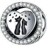 Annmors Charm Nini le lapin Charme Ours de Argent Sterling 925 Femmes Perles Charm avec 5A Zircone Compatible pour Pandora &