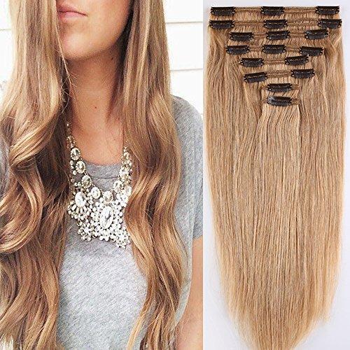 40cm-55cm Clip in Extensions Set 100% Remy Echthaar 8 Teilig 130g-160g Haarverlängerung dick Dopplet Tressen Clip-In Hair Extension ( 50cm-150g, Nr.27 Dunkelblond)