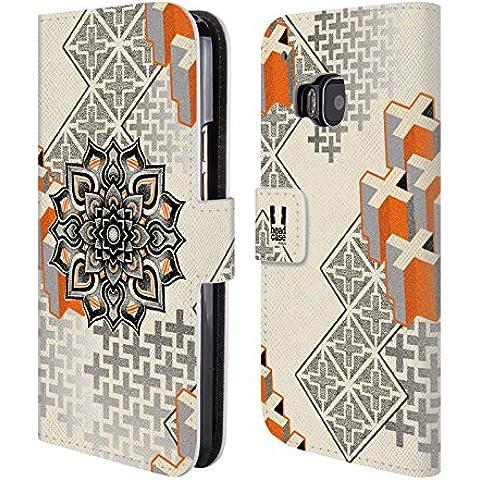 Head Case Designs Mandala E Croce Arte Puntiforme 2 Cover telefono a portafoglio in pelle per HTC One M9 - Croce Cucita Arte