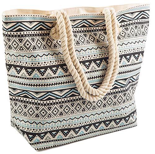 Airee Fairee Strandtasche Damen 47 x 35 x 15cms Large Sommer Leinentragetaschen Seil Aztec Muster Griff (Schwarz)