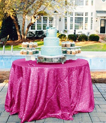 shinybeauty 274,3cm rund Glitz Pailletten Tischdecke für Hochzeit und Event-schimmernden Glanz Stoff, hot pink, 108in