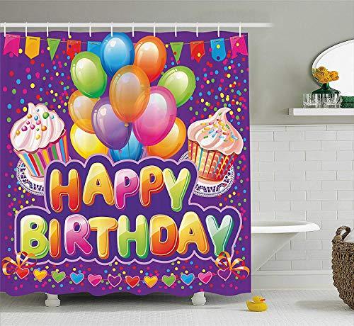 BUZRL Birthday Decorations Shower Curtain, Purple Backdrop with Creamy Cupcakes Hearts Confetti Rain Balloons, Fabric Bathroom Decor Set with Hooks, 60W X 72L Inche Long, Multicolor