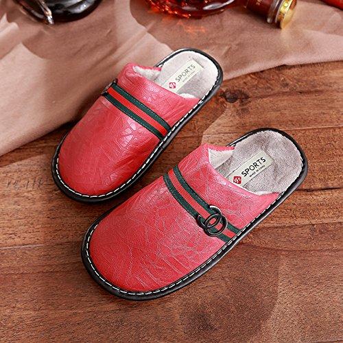 DogHaccd pantofole,Paio di pantofole di cotone uomini e donne inverno pu Tomaia in pelle impermeabile costolette di manzo di spessore allinterno di una camera da letto a gancio Il rosso1
