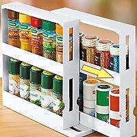 ZARQ Porte-épices, 2 Niveaux Porte-épices Rotatif Extractible Cuisine Placard Étagère de Rangement Étagère à Épices Pots…