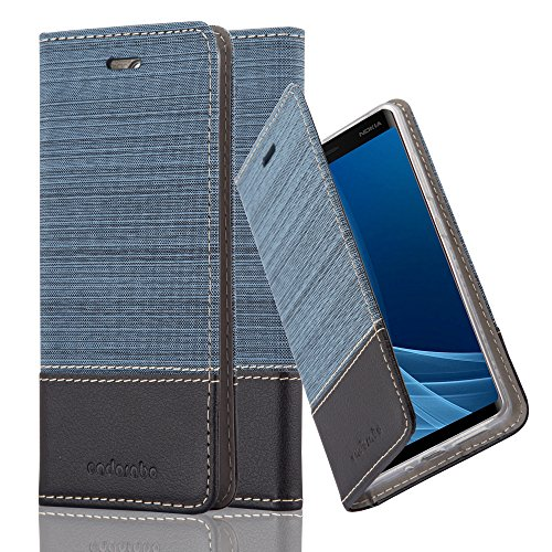 Preisvergleich Produktbild Cadorabo Hülle für Nokia 8 Sirocco / Nokia 9-2017 - Hülle in DUNKEL BLAU SCHWARZ – Handyhülle mit Standfunktion und Kartenfach im Stoff Design - Case Cover Schutzhülle Etui Tasche Book