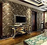 QXLML 3D Stereo Soft Tapete Schwarz Europäischen Stil Leder Muster PVC-Tapete Hotel Schlafzimmer Hintergrund Tapete 10 * 0,53 (M) ( Color : Coffee color )