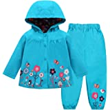 LZH Bambino Impermeabile Ragazza Pioggia Giacca con Cappuccio + Pantaloni Set