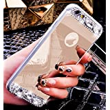 Custodia iPhone 7,Custodia iPhone 7,Custodia Cover per iPhone 7, ikasus® Placcatura Lucido di cristallo di scintillio strass Diamante Glitter placcatura caso con specchio Strass iPhone 7 Custodia Cover [Crystal TPU] [Shock-Absorption] Protettiva Trasparente Ultra Sottile Silicone Gel Cover Custodia chic Crystal Clear Case Super Sottile Bumper Case Custodia Cover per Apple iPhone 7,Cover iPhone 7 - Oro
