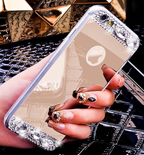 Custodia iPhone 7 Plus,Custodia iPhone 7 Plus,Custodia Cover per iPhone 7 Plus, ikasus® Placcatura Lucido di cristallo di scintillio strass Diamante Glitter placcatura caso con specchio Strass iPhone  Oro