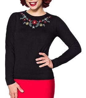 8cef9cc97d080a Frauen Schwarzer Langer Damen Strick-Pullover mit Langen Ärmeln und  Blumenmuster Retro zum hochgeschlossen vorn