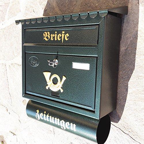 Großer Briefkasten / Postkasten XXL Din A4 Grün / Dunkelgrün mit Zeitungsrolle Flachdach Katalogeinwurf Zeitungsfach