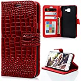 Samsung Galaxy A3 2016 Etui Cuir [Veine de Crocodile] - Etui à Rabat Fonction Portefeuille de Carte Slots Support Bouton Magnétique Case Housse Cover - MAXFE.CO Rouge