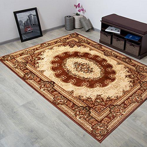 Tapiso YESEMEK Teppich Klassisch Kurzflor Orientalisch Teppiche Floral Ziegler Medaillon Ornament Muster und Bordüre in Braun Beige Barock Design Wohnzimmer ÖKOTEX 300 x 400 cm -