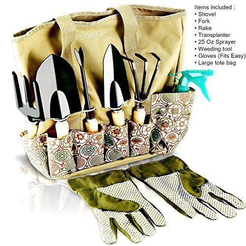 8 pièces Outils de jardin pièces - outils de jardinage   avec gants de jardinage et de jardin Tote