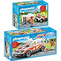 Playmobil® City Life 2 pcs. Set 70050 70053 Emergency ambulance with light and sound + Quad with rescue trailer