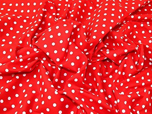 Rot Polka Dot Baumwolle Kleid (Minerva Crafts 7mm Spotty Polka Dot Print Kleid aus Baumwolle Stoff Weiß auf Rot-Meterware)