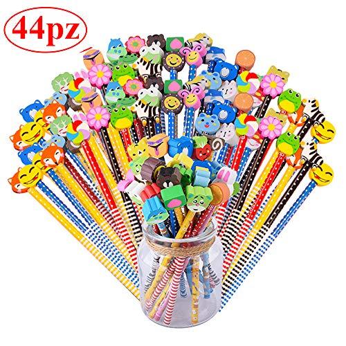 Gudotra set 44 pcs matita in legno con gomma colorate bomboniera regalino per regalo bambini festa compleanno battesimo natale