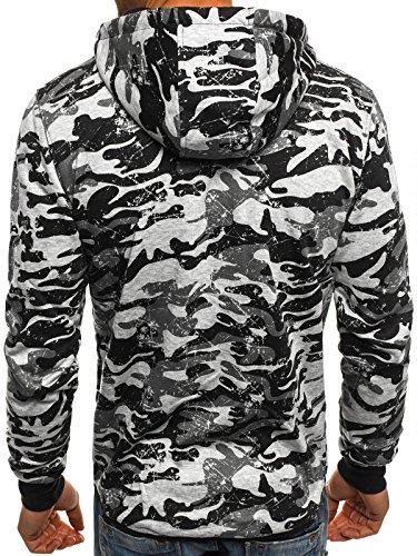 ozonee uomo maglia pullover felpa con cappuccio sportivi motivo J. STYLE J33 GRIGIO_js-dd99