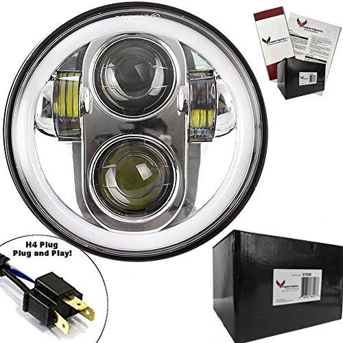 Preisvergleich Produktbild Eagle Lichter 5 3 / 10, 2 cm chrom Daymaker Generation II LED Scheinwerfer mit Weiß Halo Ring für Harley Sportster,  Dyna Modelle und andere Motorräder. Drop in Ersatz für alle 14, 6 cm Motorrad Scheinwerfer