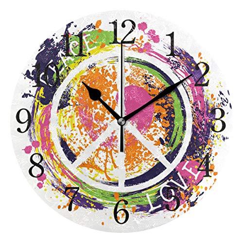 WowPrint Wanduhr, Peace-Zeichen aus Acryl, rund, Nicht tickend, dekorative Kunst-Malerei für Büro, Klassenzimmer, Schlafzimmer, Wohnzimmer, Bad, Küche, Dekor (Stille Zeichen)
