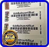 250 pièces - Certificat d'authenticité - Étiquettes avec numéros de série et hologramme, sceau autocollant 70 x 20 mm