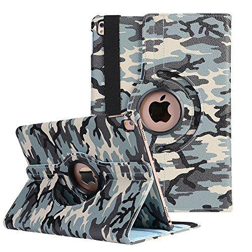 Standfunktion Schutzhülle für iPad Air 2 , elecfan ® 360 Grad Drehbaren iPad Air 2 PU Leder Hülle Smart Schutzhülle Camouflage Muster Multi Funktion mit Eingebauter Magnet und Auto Schlaf Aufwachen Funktion und Standfunktion (iPad Air 2, Camouflage-A01)
