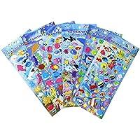 HighMount Happy Underwater Sea World Stickers 6 Sheets with Angelfish, Sharks, Starfish, Hippocampus - Foam Ocean World Fish Stickers for Kids Scarpbooking Crafts - 240 Stickers