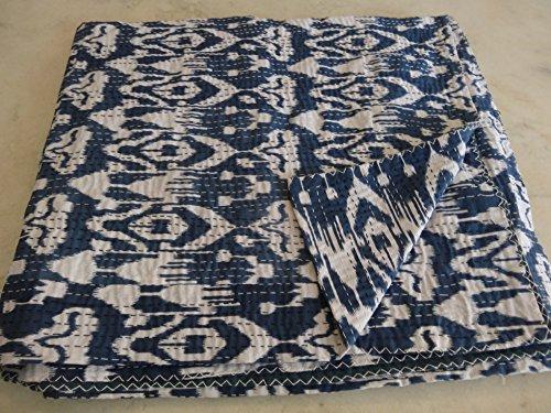 Tribal Asian tessuto indiano ricamato Ikat Kantha trapunta gudri queen coperta 01