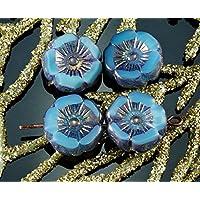 6pcs Rustico Picasso di Bronzo Lucido Turchese Blu di Raso di Vetro ceco Piatto Intagliato Tavolo di Taglio Fiore Hawaiano Perle Moneta 12mm