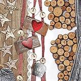 20 Servietten Cottage Love – Winterliebe / Weihnachten / Herz / Holz 33x33cm