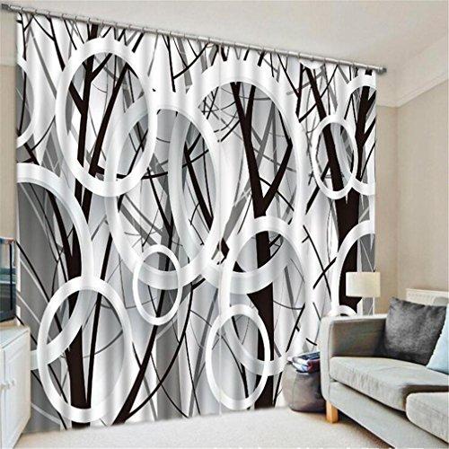XXQ 3D Fenster Gardinen geschmückte European Polyester Fensterverarbeitung Wohnzimmer Digital schwarz weiß Kunst Baum, a