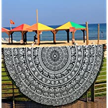 Toalla de playa redonda, pavo real redondo, estilo mandala indio, algodón, de
