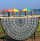 Toalla de playa redonda, pavo real redondo, estilo mandala indio, algodón, de encaje, esterilla de...