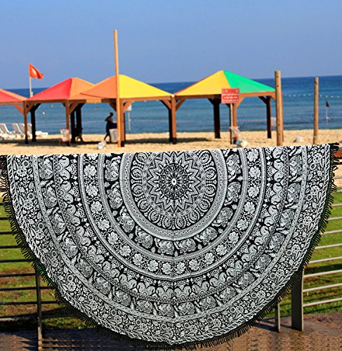 Toalla de playa redonda, pavo real redondo, estilo mandala indio, algodón, de encaje, esterilla de yoga o para pícnic, 182cm Aakriti Gallery