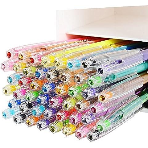 Ohuhu 48 Diamante Punta de la Pluma del Gel, Para Libros de Colorear, Dibujo, Pintura y Escritura,