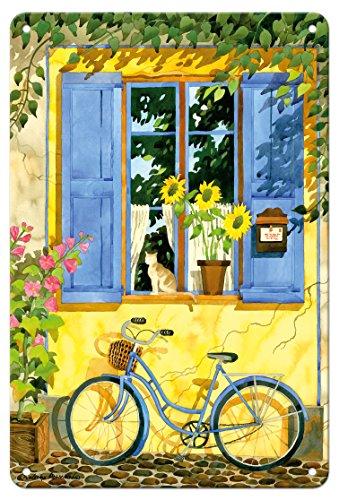 Pacifica Island Art - 22cm x 30cm Vintage Metallschild - Das französische Fahrrad - Frankreich - Von Einer Aquarellmalerei von Robin Wethe Altman (Robin Fahrrad)