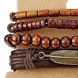 Mischen von 4 Braun Wickeln um Strap Armband Herren Damen, Feder Bettelarmband, Perlen Holz Leder Armband Schweissband - 3