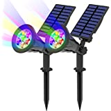 T-SUN 7 LED Lampe Solaire 2Packs Solaire Projecteur avec 7 Couleurs Changent Extérieur sans Fil Etanche IP65 Lampe Jardin ave