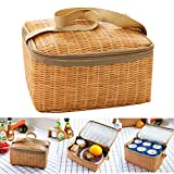 Travel Picnic Lunch Bag Imitation Rattan Brazier Cooler Insulated Tote Handbag \ Camping