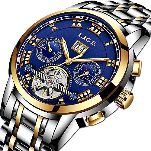 Herren uhren Geschäfts Beiläufig Mechanische Uhr Edelstahl Wasserdicht Tourbillon Nautilus Präsentier Automatikwerk Zeigt Multifunktionsuhr Analog Design Stoppuhr Gold blau Mann Armbanduhr
