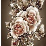 Strassstein Gemälde DIY 5D Rundkristalle Mosaik Lilien-Motiv Stickerei 3D-Kreuzstich Deko Näh-Bild Präge-Kit zum Selbermachen, 57cm x 57cm